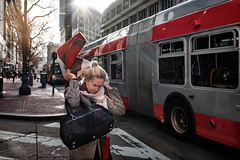 Woman, scarf and bus (feldmanrick) Tags: streetphotography street sanfrancisco urban unposed candid woman scarf bus decisivemoment color outdoor
