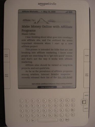 Photo of my blog on the Amazon Kindle