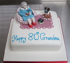 grandma we love you cake (cakes from the sweetest thing (Susan)) Tags: grandma dog cake books boxer granny grannie