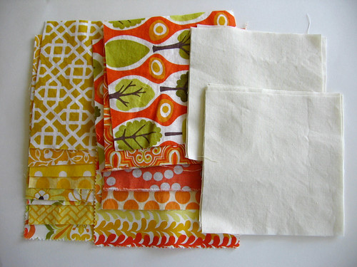 Yellow and Orange Fabrics for Drunkard's Path