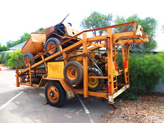 Mobile Dumping Ramp Trailer (RS 1990) Tags: old orange strange wheel yellow mobile metal vintage march portable ramp steering diesel johnson engine rusty adelaide oily 1960s trailer 1970s skip queer 1980s thursday southaustralia 13th marino dumping 2014 dumper hallettcove marinorocks
