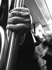 An elder strong touch (Alberto Pasini) Tags: bw roma underground italia hand metro streetphotography supershot metrolife sauvette albertopixel desafiourbano