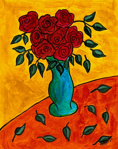 Roses in a Blue Green Vase