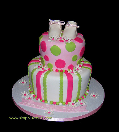 cake was inspired by the Baby Rhoads pink and green baby shower cake ...