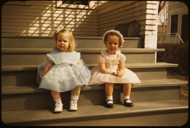 1956 04 Ekwall - Laurie Irene Ekwall and Nancy Lundstrom at Easter