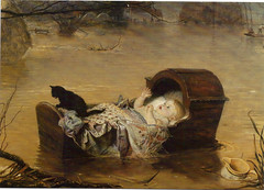 """A Flood"" by Millais 1870 (Martin Beek) Tags: baby cat flood victorian windsor tutorial millais cradle 1870 royalacademy preraphaelitebrotherhood manchestercityartgallery sheffieldflood victorianart johneverettmillais victorianpainting theartofjohneverettmillais johneverrettmillais"