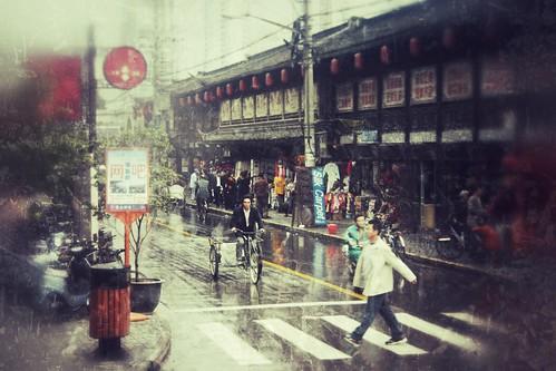 Rainy Street Scene, Shanghai
