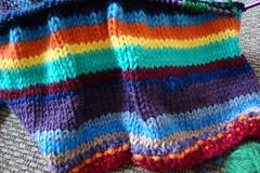 scrap yarn afghan (knitterykate) Tags: stripes afghan multicolored scrapyarn
