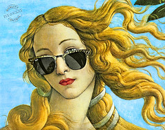 VENERE al SOLE (The PIX-JOCKEY (visual fantasist)) Tags: portrait italy art beauty face sunglasses photoshop painting model joke fake humour blonde photomontage aphrodite ritratto renaissance viso venere botticelli occhiali fotomontaggi robertorizzato pixjockey