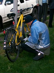Preparing to engrave bike
