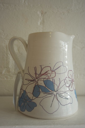 Printed porcelain milk jug by potteryrachel