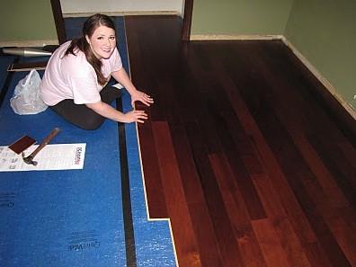Karen putting down boards
