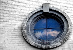 reflections (indielove) Tags: blue windows glass clouds reflections circle bluesky roundwindows terrehaute terrehauteindiana