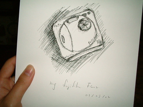 sketch, my first digital camera, fujifilm F402