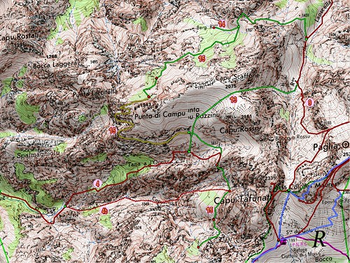 Carte du massif de Scaffone dans le Filosorma avec les principaux itinéraires