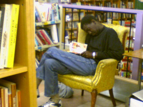 MAN WHO SLEEPS IN PEGASUS BOOKSTORE EVERY NIGHT