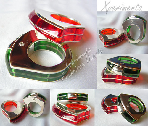 acrylic & silver rings by Xperimenta