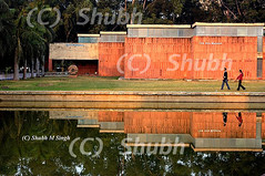Fine Art Museum-Punjab University, Chandigarh (Shubh M Singh) Tags: red india art love museum twilight nikon couple university alone peace walk fine minimalism punjab corbusier chandigarh polaris himalyas d40 jeanneret panjab