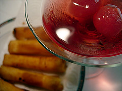 Cheese Sticks and Cranberry-Vodka Martini