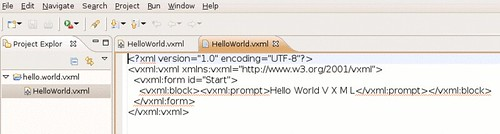 The emitted Hello World Vxml code.