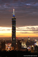 Taipei 101 Skyscraper (*Yueh-Hua 2013) Tags: camera sunset building tower architecture night skyscraper canon buildings eos fine taiwan 101  taipei taipei101 dslr   tamron      30d  101  a16     canoneos30d verticalphotograph tamronspaf1750mmf28xrdiii  taipei101skyscraper taipei101internationalfinancialcenter tigerpeak   2008january