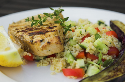Barbecued marinated marlin steaks with tabouleh
