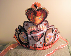 Queen of Hearts Crown! (Lisa Kettell) Tags: tiara vintage princess valentine queen tinsel vintagepostcard crown papercrown wonderland valentinesday queenofhearts vintagevalentine germanglassglitter lisakettell thefaeriezine artcrown