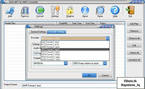 Allok MP3 to AMR Converter