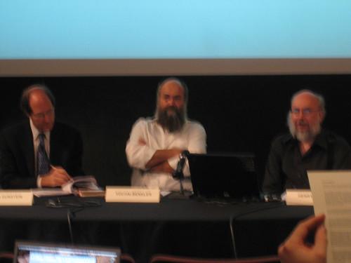Fuzzy photo of Sunstein, Benkler, and Jenkins