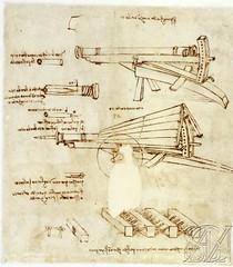 F32r-Codex Atlanticus-Spingarda con tripode martillo-cartuchos y vigas encadenadas-Biblioteca Abrosiana
