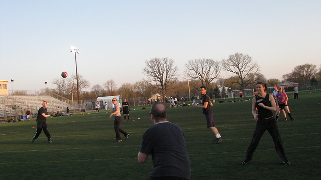 Photograph of a touch football game