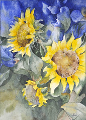 sunflowers (my paintings) Tags: new flowers flower detail art watercolor painting design persian artist iran persia sunflower iranian           aliehs alieh