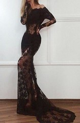 Mermaid Black Long Sleeves Lace Off the Shoulder Sweep Train Prom Dress (Victoria~93) Tags: mermaiddress mermaidpromdress promdress lace lacedress prom