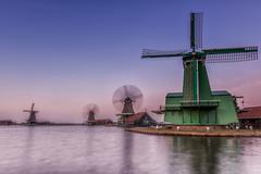 Sunset at the Zaanse Schans (a3aanw) Tags: zaanseschans longexposure zaan huiswoodenhouses sunset d800 groen water molen sky windmill hdr spiegeling 1835mm reflection