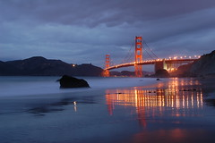 Reflected Bridge (Tyler Westcott) Tags: sanfrancisco california longexposure reflection beach night evening waves dusk explore pacificocean goldengatebridge goldengate sfchronicle96hrs abigfave specobject nikond40 ultimateshot onlyyourbestshots