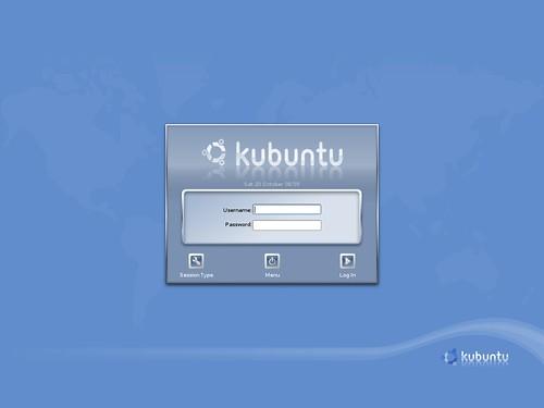 L'écran de connexion de Kubuntu 5.10