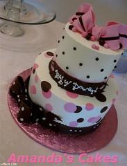Baby Dowers Baby Shower Cake - Slant (mandotts) Tags: pink baby brown cake shower polkadots babygirl bow babyshower babycake pinkandchocolatecake