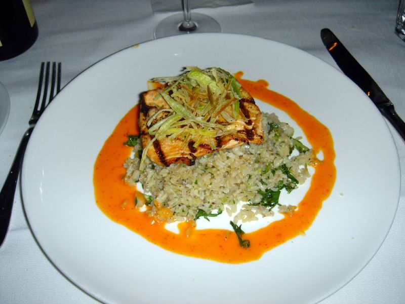 Salmon over rice