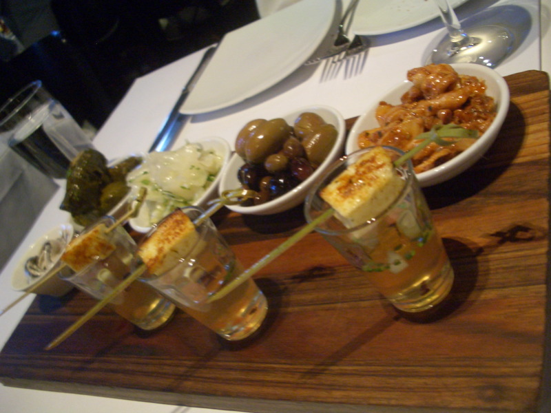 Atherina, dolmades, pickled cabbage, olives, spiced baby octopus and saganaki martinis