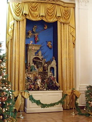 Nativity Scene (East Reception Room, White House) (catface3) Tags: blue decorations horses gold washingtondc dc holidays tour whitehouse christmastree angels drapes bows cherubim threekings magi nativityscene parquetfloor garlands presidentshouse catface3