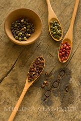 peppercorns (mwhammer) Tags: wood old red white black color green texture antique rustic explore exotic spices bowls spoons propstyling foodstyling melinahammer