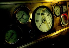 dials..low key lighting (lovestruck.) Tags: facade contrast testing numbers laboratory needles lowkey brass dials rpm chilworth southamptonuniversity challengeyouwinner enginetestconsole