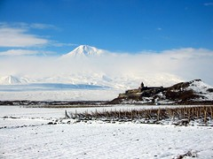 Ararat Mountain and KhorVirap Monastery (Alexanyan) Tags: winter mountain snow church europe religion christian monastery armenia historical orthodox yerevan touristic armenian ararat armenien caucas khor armenie caucasia virap 5photosaday erevan jerevan