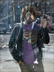 lookinglasself. (eocenean) Tags: camera distortion reflection me myself beard hoodie sonydsch5