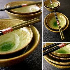 japanese pottery (karaku*) Tags: green japan japanese pentax bowl pottery chopstick dishware k100d minouyaki