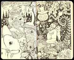 In Heaven You Get All Your Old Dogs Back (pageofbats) Tags: illustration inmemory heaven moleskin frenchbulldogs petloss