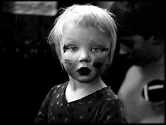 Cute make-up #1 (Mayastar) Tags: portrait bw facepainting child makeup 50mmf14 nikond80 mayastar mayastarphotography