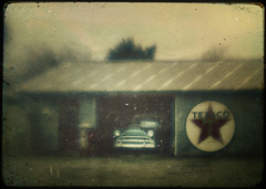 lonesome blues (Jeff Rinehart  (almost back in action)) Tags: texture car automobile textures layer layers texaco lensbabies lensbabyoriginal jeffrinehart avertedvision