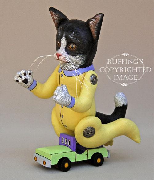 Ziggy the Tuxedo Kitten, Original One-of-a-kind Folk Art Doll by Elizabeth Ruffing