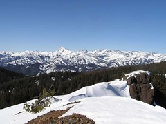 Looking out along the ridge that leads to the lookout - Stuart/Stuart range and Enchantments in the distance